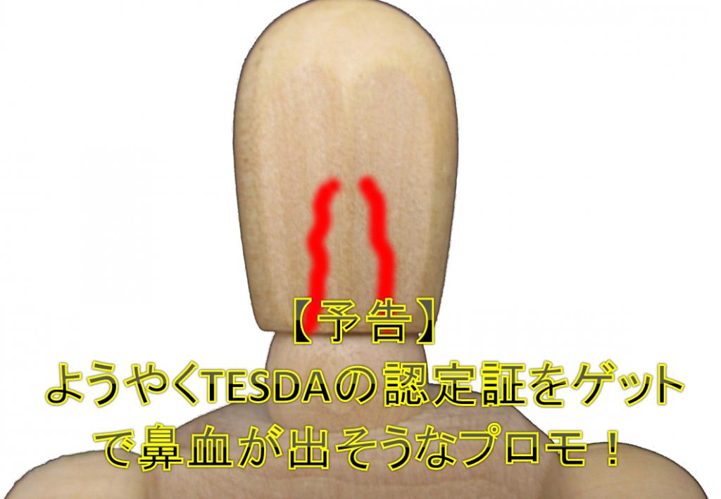 【予告】ようやくTESDAの認定証ゲットで鼻血が出そうなプロモ!